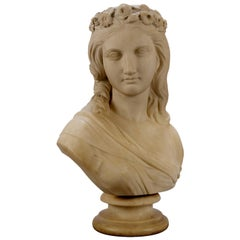 English Classical Maiden Marble Sculpture Signed Robert Physick, circa 1863