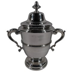 Antique English Classical Sterling Silver Covered Urn Trophy Cup