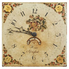 Antique English Clock Dial Face, Country Garden, Working