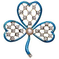 Antique English Clover Blue Enamel 15 Karat Gold Pearl Pendant Brooch Diamonds