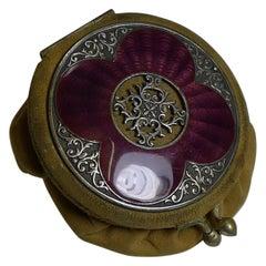 Antique English Coin Purse, Stunning Purple Guilloche Enamel