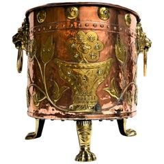 Antique English Copper and Brass Jardinière