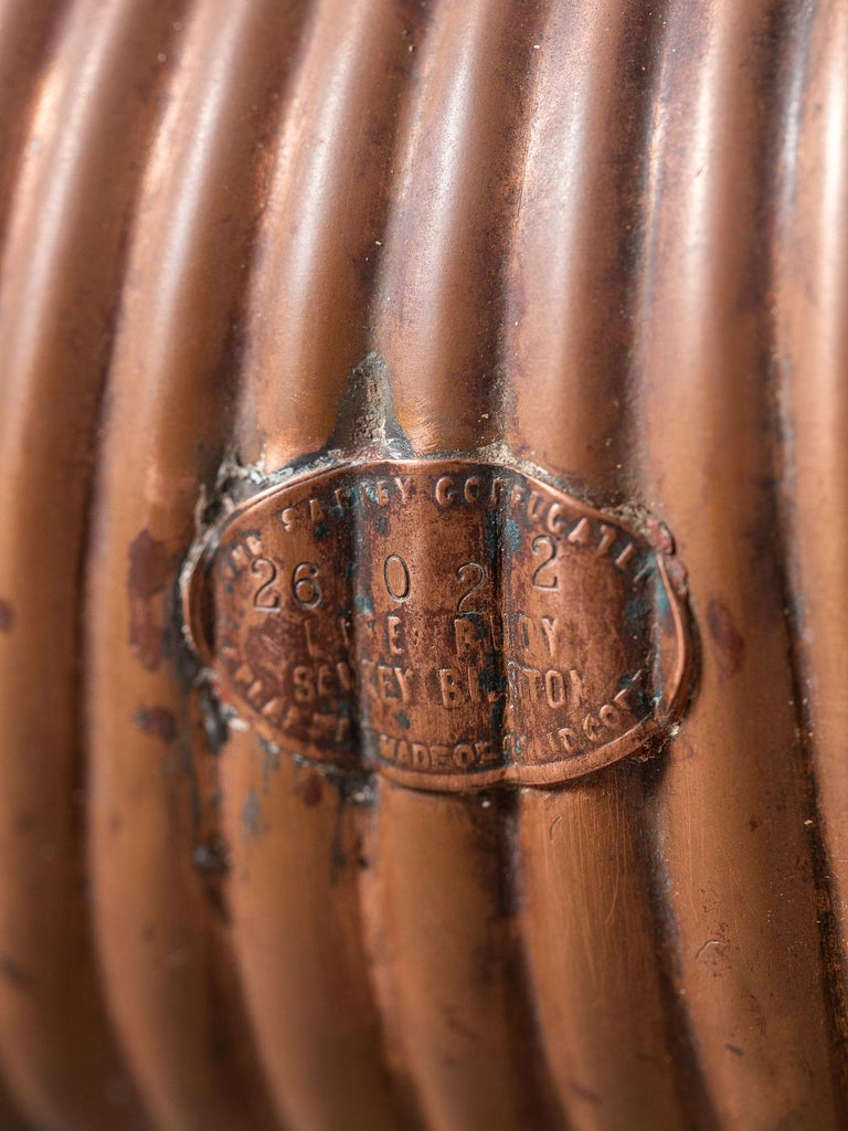 Edwardian Antique English Copper Life Buoy circa 1895 Label Attached For Sale