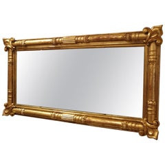 Antique English Country House 19th Century Gilt 3-Plate Mirror