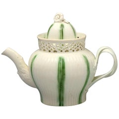 Antique English Creamware Pottery Teapot with Green Stripes, Late 18th Century