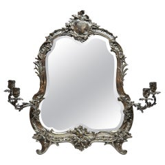 Antique English Crested Sheffield Silver Dresden Mirror