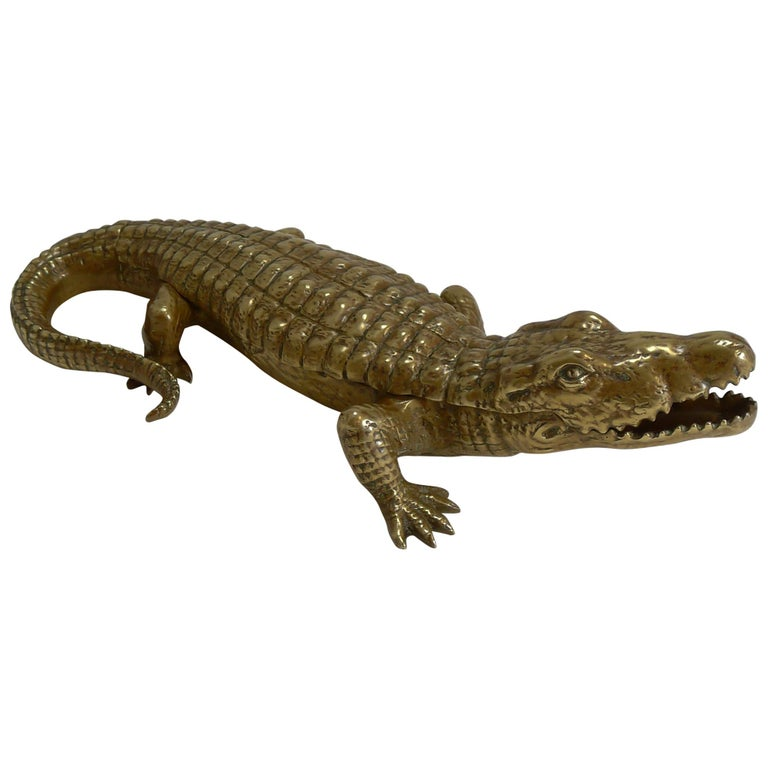 Antique English Crocodile / Alligator Inkwell / Desk Tidy, circa 1880 For Sale
