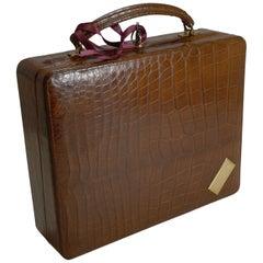 Antique English Crocodile / Alligator Jewelry Box / Suitcase, circa 1910