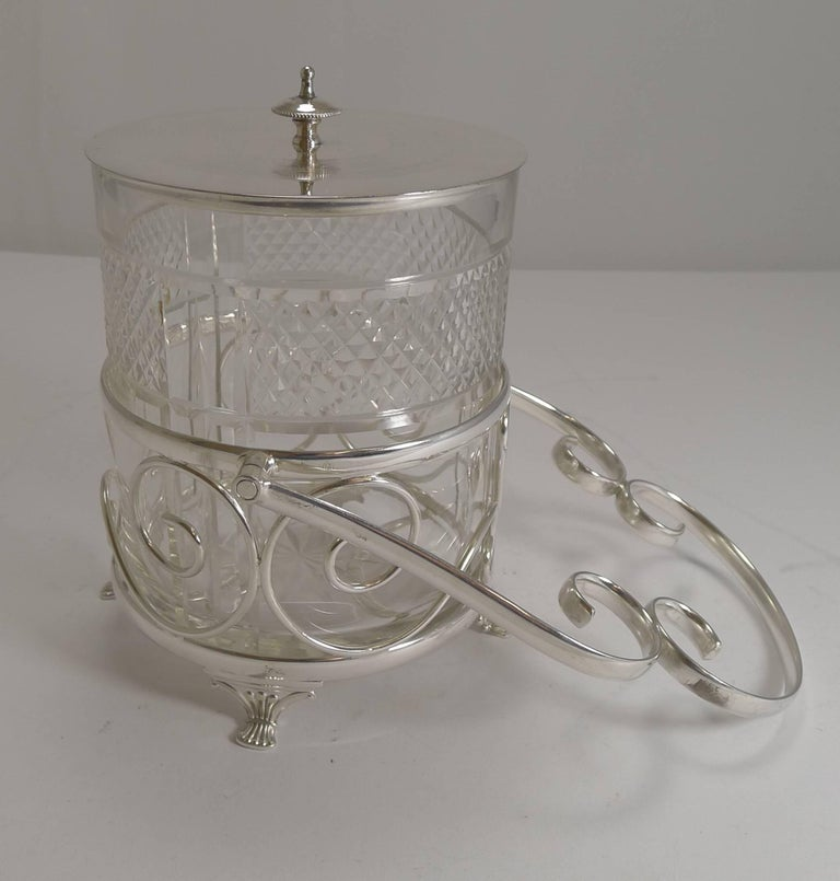 Plated Antique English Cut Crystal and Silver Plate Biscuit Box, circa 1900 For Sale