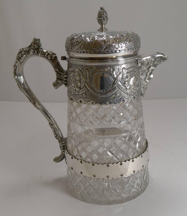 A magnificent large wine jug, wonderful quality made from a hefty piece of crystal beautifully hand-cut.