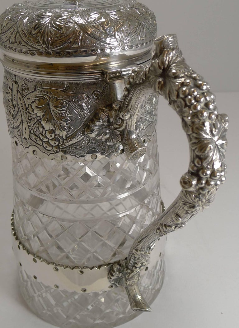 Late Victorian Antique English Cut Crystal and Silver Plate Wine Jug For Sale