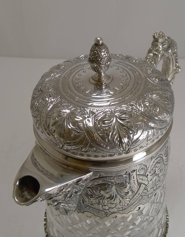 Antique English Cut Crystal and Silver Plate Wine Jug In Excellent Condition For Sale In London, GB