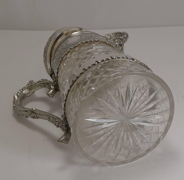 Antique English Cut Crystal and Silver Plate Wine Jug For Sale 1