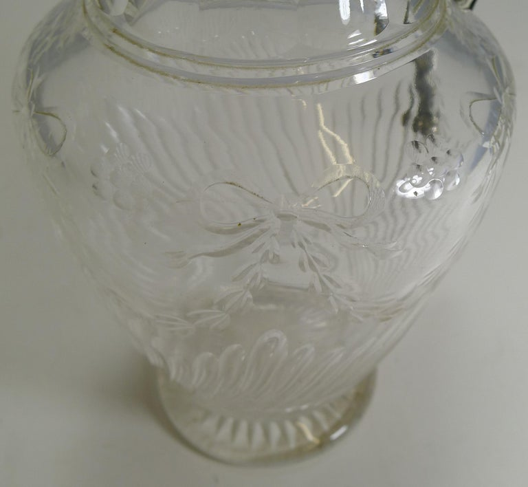 Early 20th Century Antique English Cut Crystal and Sterling Silver Claret Jug by Elkington & Co. For Sale
