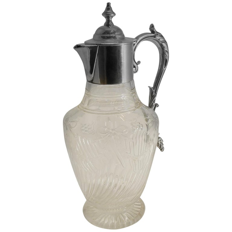 Antique English Cut Crystal and Sterling Silver Claret Jug by Elkington & Co. For Sale