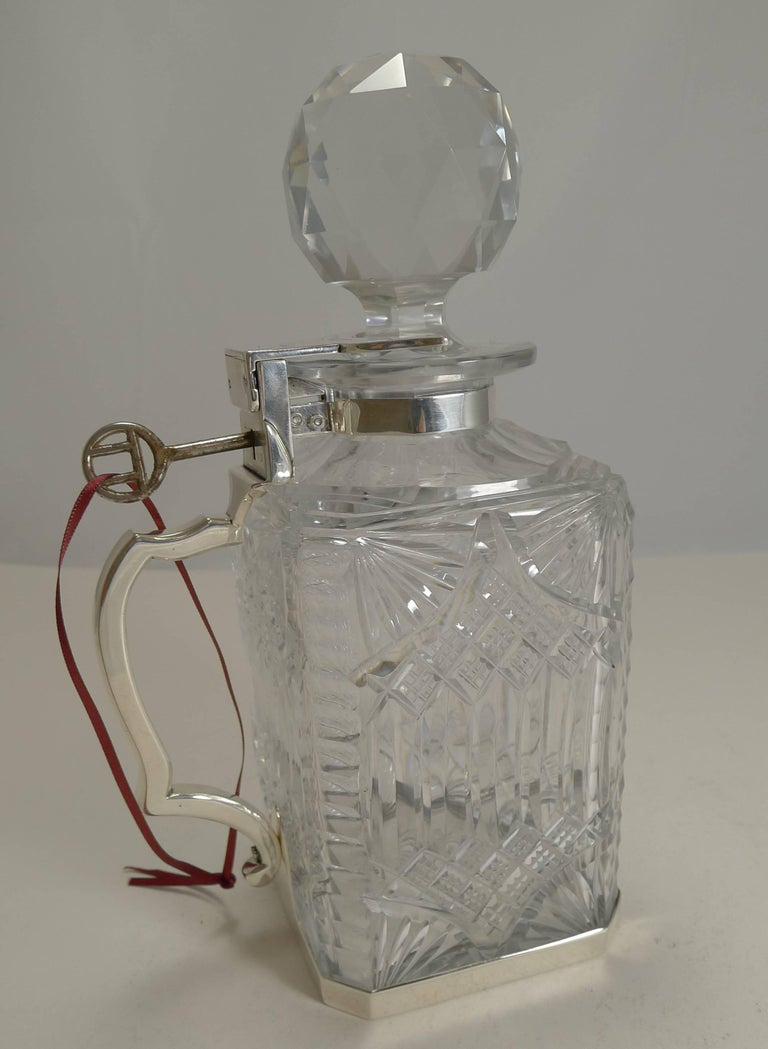 Late Victorian Antique English Cut Crystal and Sterling Silver Single Locking Decanter, 1898 For Sale