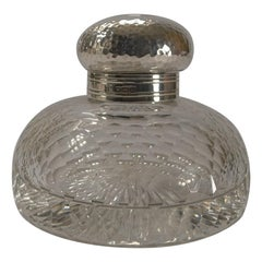 Antique English Cut Crystal & Sterling Silver Inkwell, 1904