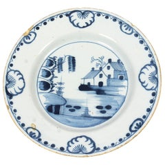 Antique English Delft Blue and White Decorated Plate, 18th Century