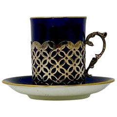 Antique English Demi Tasse Cobalt Blue and Sterling Silver, circa 1900