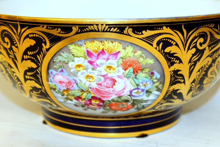 Exquisite quality antique English Derby porcelain hand-painted floral motif and richly gilt cobalt George III style round bowl  Red painted