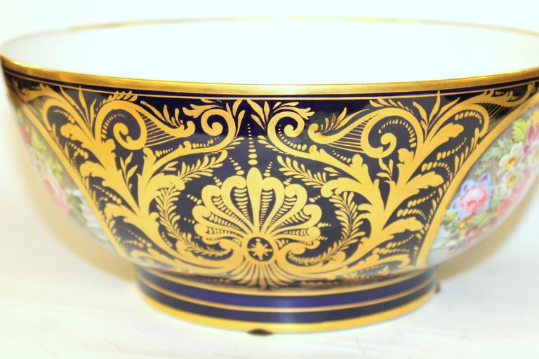 19th Century Antique English Derby Porcelain Hand-Painted Floral and Gilt Cobalt Round Bowl For Sale