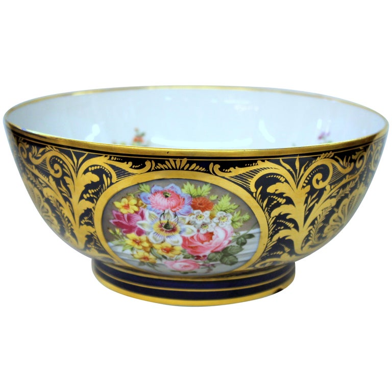 Antique English Derby Porcelain Hand-Painted Floral and Gilt Cobalt Round Bowl For Sale