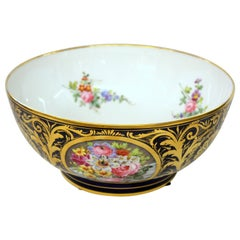 Antique English Derby Porcelain Hand Painted Floral Motif Large Round Bowl