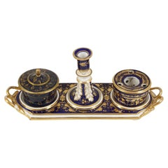 Antique English Derby Porcelain Ink Stand Dish on Tray, England 1870, B2786y
