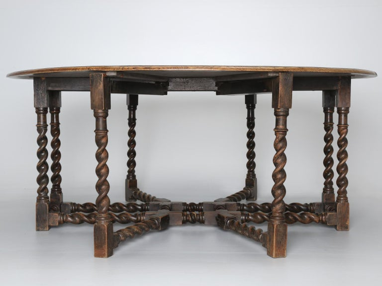 Antique English Double-Gate Leg Drop-Leaf Barley-Twist Dining Table in White Oak For Sale 10