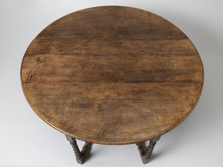 Hand-Crafted Antique English Double-Gate Leg Drop-Leaf Barley-Twist Dining Table in White Oak For Sale