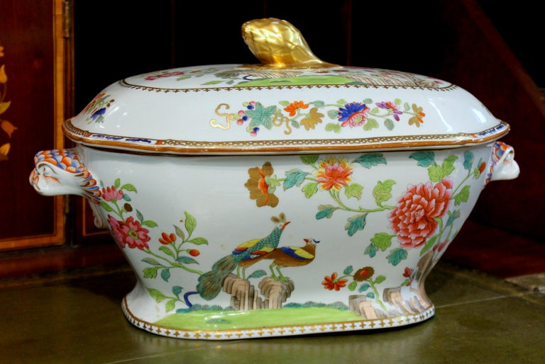 Hand-Painted Antique English Early Spode Earthenware
