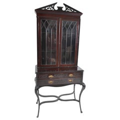 Antique English Ebonized Empire Style Cabinet / Hutch / Bookcase, circa 1870