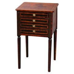 Antique English Ebonized Walnut Burl and Bouille Inlay Side Stand, 19th Century