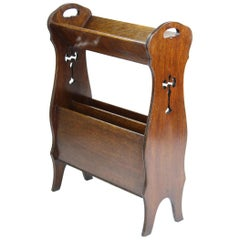 Antique English Edwardian Arts & Crafts Oak Book Trough Magazine Newspaper Stand