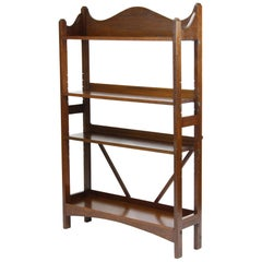 Antique English Edwardian Arts & Crafts Oak Open Bookcase Heals Style Shelf Unit