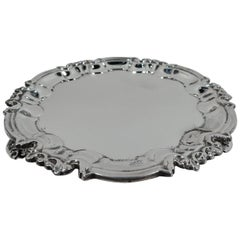 Antique English Edwardian Georgian Sterling Silver Salver Tray