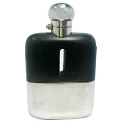 Antique English Edwardian Leather and Silver Plate Flask, Circa 1900-1910