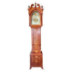 "Antique English Edwardian Mahogany Grandfather Clock ""Tiffany & Co,"" Circa 1900s"