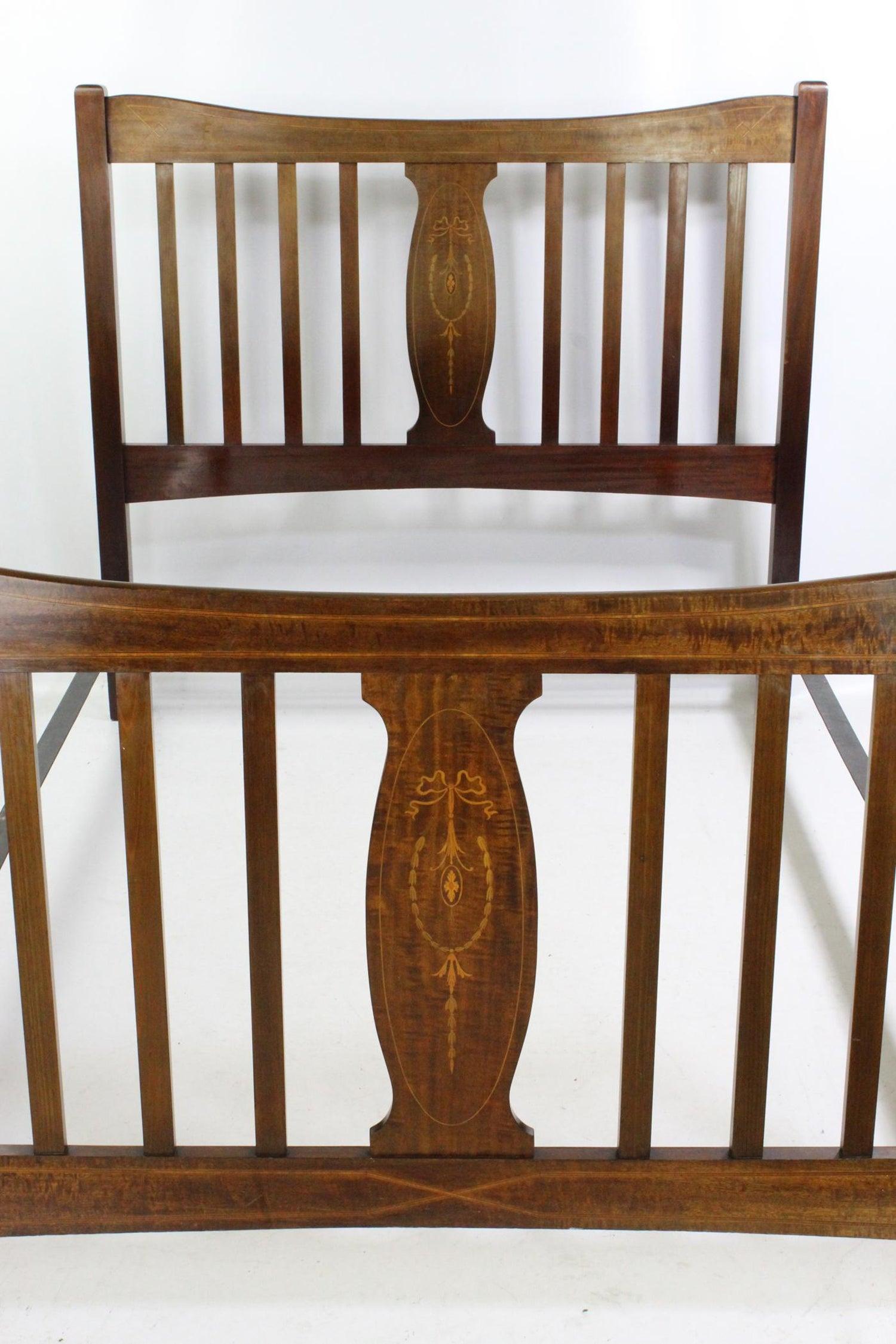 Antique English Edwardian Mahogany Inlaid Double Bed