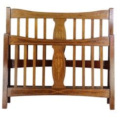 Antique English Edwardian Mahogany Inlaid Double Bed Bedstead Uk Double /Us Full
