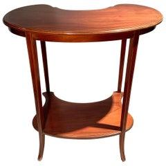 Antique English Edwardian Mahogany Kidney-Shaped Table, circa 1890-1910