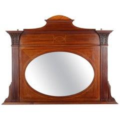 Antique English Edwardian Mahogany Overmantle Mirror, circa 1905 Overmantel
