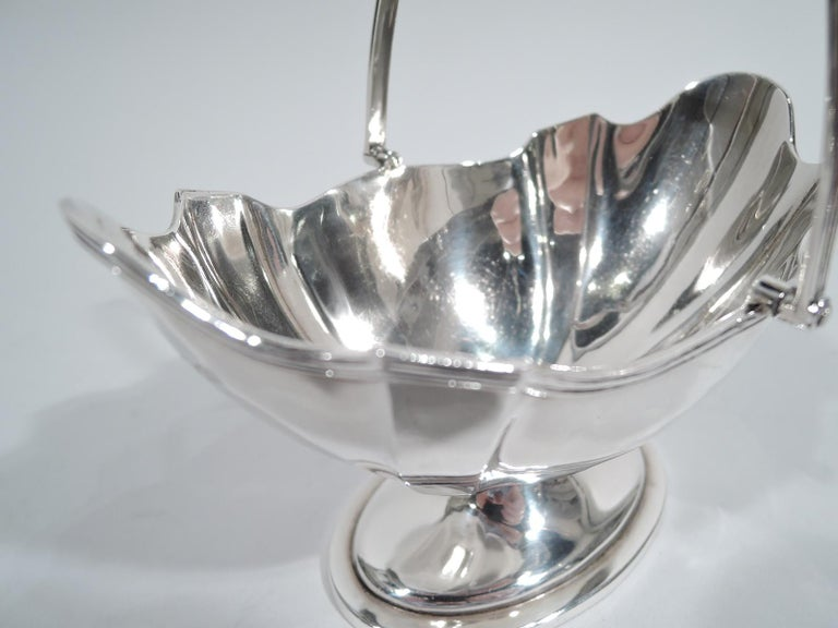 Neoclassical Revival Antique English Edwardian Neoclassical Sterling Silver Sugar Basket For Sale