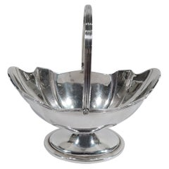 Antique English Edwardian Neoclassical Sterling Silver Sugar Basket