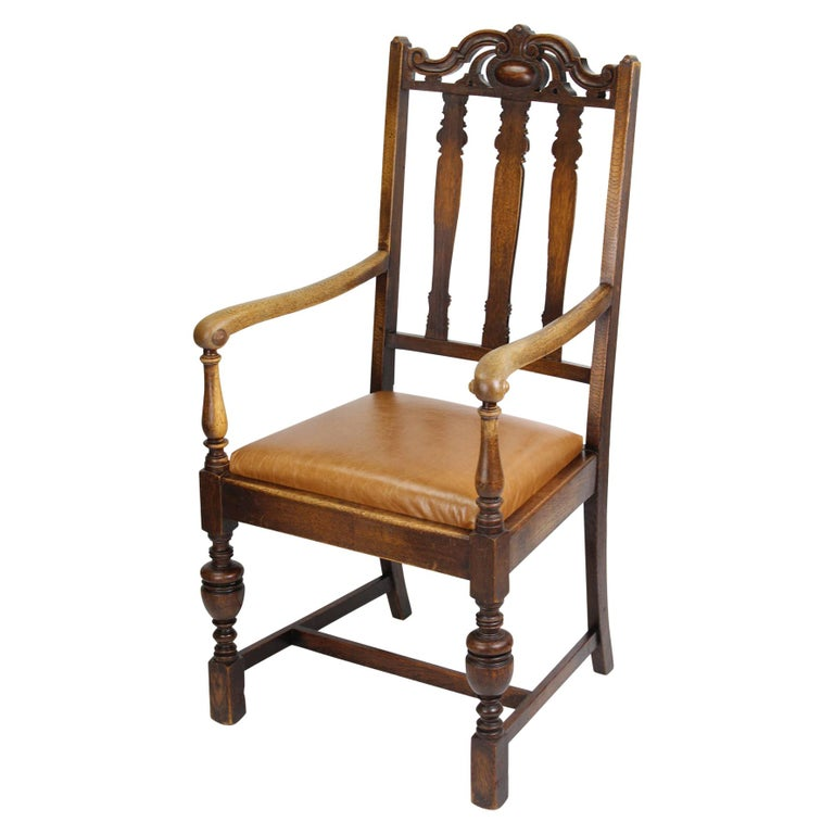 Wondrous Antique English Edwardian Oak Desk Chair Open Armchair At Gmtry Best Dining Table And Chair Ideas Images Gmtryco