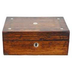Antique English Edwardian Oak Keepsake Trinket Box Mother of Pearl Inlay