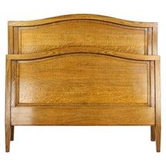 Antique English Edwardian Panelled Oak Double Bed Bedstead UK Double / US Full