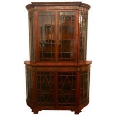 Antique English Edwardian Satinwood Display Cabinet, circa 1890