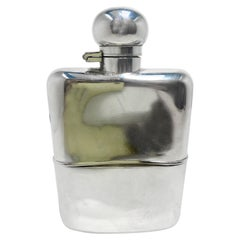 Antique English Edwardian Sheffield Silver-Plated Flask, Circa 1900-1910
