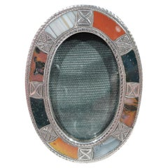 Antique English Edwardian Sterling Silver & Agate Oval Picture Frame